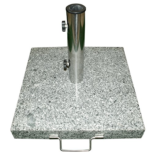 Nexos Schirmständer Sonnenschirmständer Granit eckig 45x45cm Steindicke 5cm ca. 40kg Edelstahlrohr Griff Rollen grau