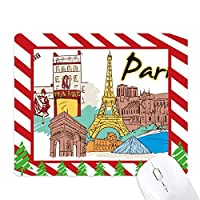 フランスパリエッフェル塔の水彩画 ゴムクリスマスキャンディマウスパッド