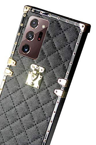 galaxy note20 ultra case square compatible with Samsung Galaxy Note 20 Ultra cases trunk plaid girly box note20ultra 5G 4G cover luxury 20note 20ultra girls women stylish cute bumper 6.9 inch (black)