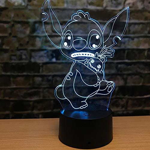 SJSF L Nouveauté Point 3D Lampe Alien Chien Mignon Animal De Compagnie LED Lumières Belles Filles Cadeaux Enfants Chambre Décor Bureau Ou Table Éclairage Bon Cadeau,16colors+remotecontrol