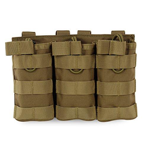 Hotour Airsoft Molle Vest Bag Bolsa Tactical Open Top mag Pouch Triple/Doble/Single revistero para Ar M4M16Hk416revistas, TAN3