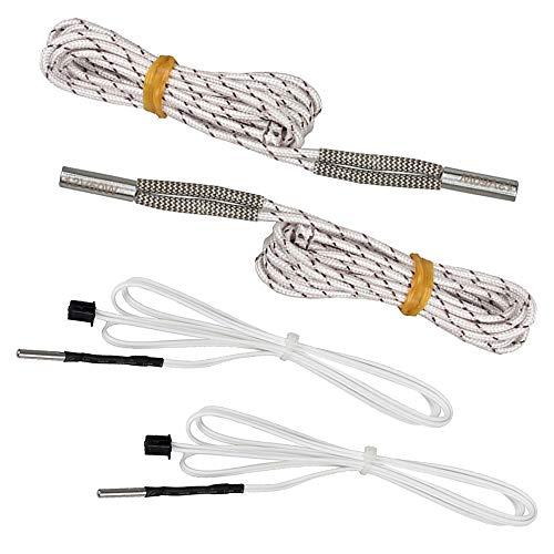 Globaldream 2 pezzi 12V 50W aggiornato filo riscaldatore a cartuccia in ceramica e 2 pezzi sensore termistori NTC 100K ohm per stampante 3D