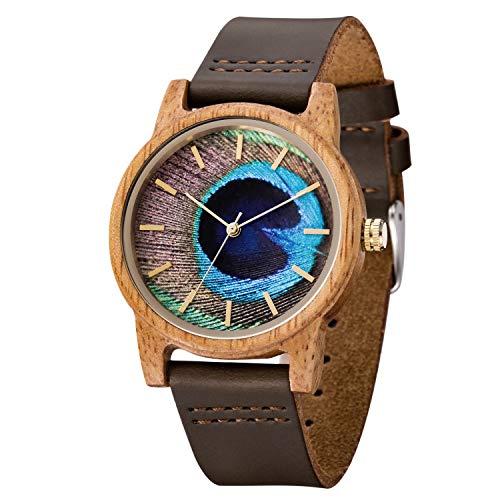 MUJUZE Herren Holzuhr Uhren Damen Analoge Japanisch Quarzwerk 40mm Sandelholz Ziffernblatt Holzuhren mit Schwarz Leder Armband … (Mango)