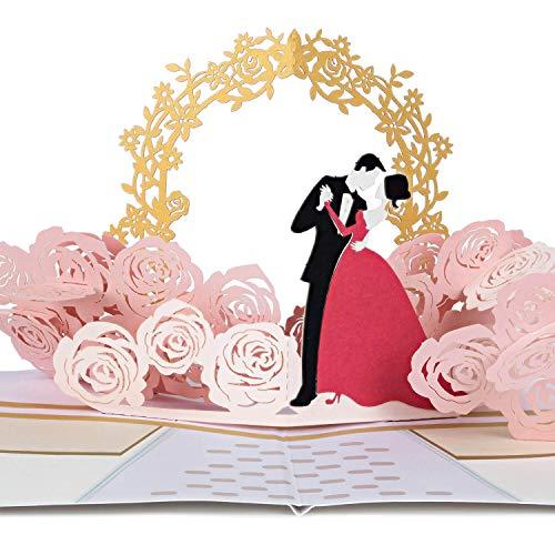 PaperCrush® Pop-Up Karte Hochzeit Brautpaar - Besondere 3D Hochzeitskarte, Geschenkkarte als Glückwunsch zur Hochzeit - Romantische Glückwunschkarte zum Standesamt