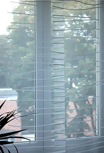 Unbekannt IKEA Schiebegardine KAJSA Rand transparenter, lichtdurchlässiger Flächenvorhang in 60 x 300 cm leicht kürzbar - in Weiss mit feinem Wellenmuster