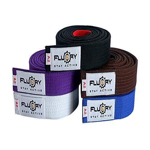 FLUORY Premium Cotton Brazilian Jiu Jitsu BJJ Belt (A1, White)