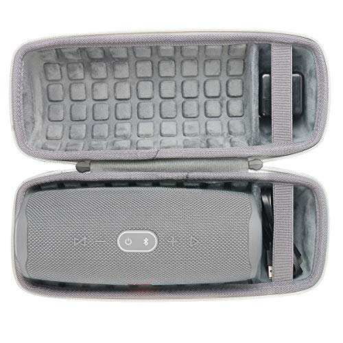 co2CREA Hard Travel Case for JBL Charge 4 / JBL Charge 5 Waterproof Bluetooth Speaker (Ouside Black and Inside Grey)