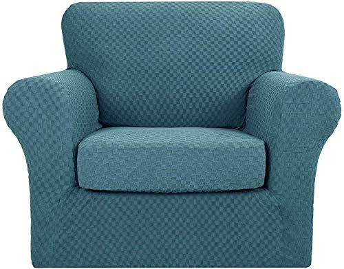 JJYY La más Nueva Funda de sofá de Jacquard a Cuadros con 2 Fundas de cojín separadas, elástico de poliéster y Licra para sofá, Protector de Muebles Antideslizante de Repuesto (Azul Pavo Real, 1