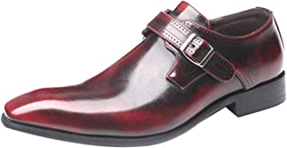 Aiweijia Men's Leather Shoes Low Cut Pointed Solid Color Leather Shoes Buckle Low-Heeled Shoes Large Size Men's Shoes