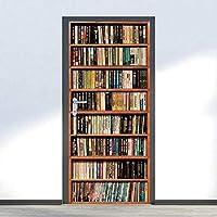 棚アウォールステッカーシミュレーション本棚3Dドアステッカー防水粘着性PVC壁纸DIYホームドア装饰シミュレーションポスター壁画-77cm(W)* 200cm(H)-77x200厘米
