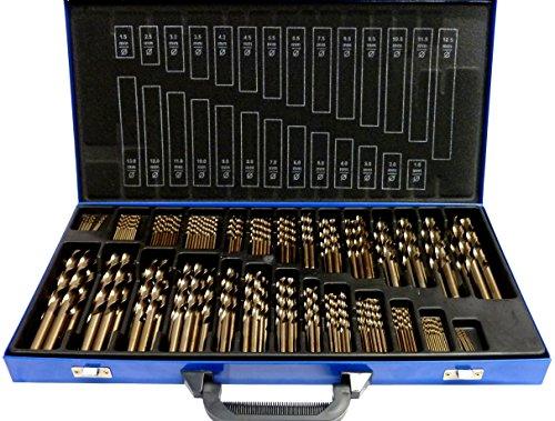 SYTO24, 230-tlg. Edelstahl-Bohrer HSS-E (1-13mm) Kobalt Cobalt (Co5) Spiral-Bohrer VA mit Kreuzanschliff, Metallbohrer, Stahlbohrer