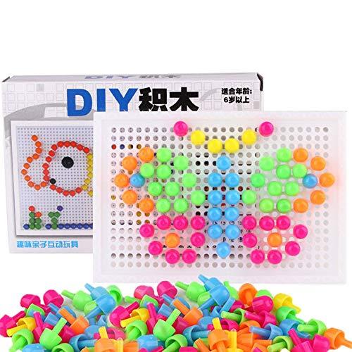 Chirldren Toy - Variedad de uñas de hongos que deletrean e insertan bloques (alrededor de 96) Para niños Niñas Juguete de desarrollo de regalo - Colorido