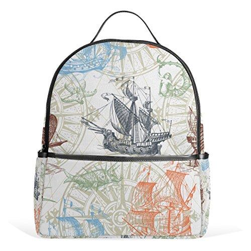 ALAZA Vintage Schiffs-Kompass Monster-Rucksack für Schule Bookbag