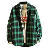 HUITAILANG Camisa De Franela Blusa De Hombre, Botones A Cuadros A Cuadros, Camisas Casuales