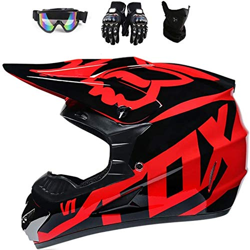 Fox Full Face MTB Helmet, Children and Adults, Motocross Helmet Set, Protective Goggles, Mask, Gloves with ABS Shell, Safety Standard DOT (Red, L)