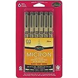 Sakura Pigma 50037 Micron Blister Card Ink Pen Set, Black, 03 6CT