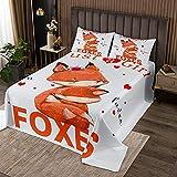 Loussiesd Fuchs Steppdecke für Mädchen Kinder Süße Füchse Druck Bettüberwurf Zimmer Dekorativ Kawaii Waldfuchs Tier Tagesdeck 240x260cm Wohndecke Fuchsliebhaber 3St