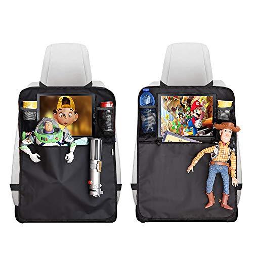 Proteggi Sedili Per Auto 2 Pezzi New 2020 Protezione Sedile Auto Bambini Organizer Impermeabile Supporto Tablet Organizzatore Universale Multitasca Coprisedile e Portaoggetti Accessori Auto (Nero)