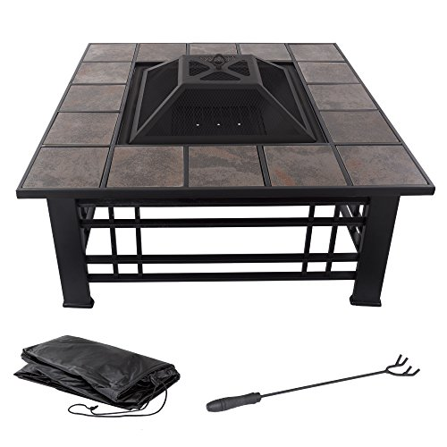 """Fire Pit Set, Wood Burning Pit - Includes Spark Screen and Log Poker - Great for Outdoor and Patio, 32"""" Square Tile Firepit by Pure Garden"""