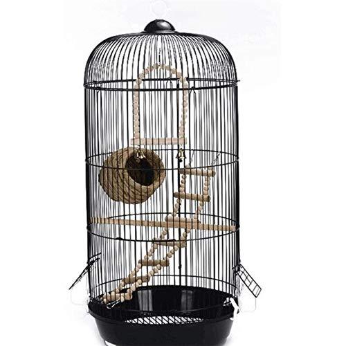 HCMNME Jaula dpájaros Duradera y ecológica, Decoración Diaria Birdcage Creative Redondo Metal Pájaro Parrot Canario Birdcage Black Aviary Jaula para pájaros Parrotlet Finch Canary Travel