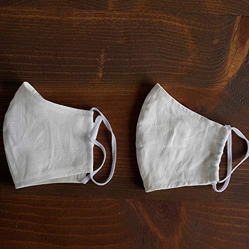 マスクリネン2重仕様立体マスク柔らかいWガーゼリネン100%抗菌防臭速乾ゴム調整可能丸洗いOKホワイト