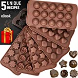 Silicone Candy Molds + 5 Recipes eBook - 6 Pack - FDA Approved Silicone Molds For Fat Bombs -...