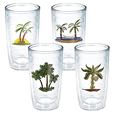 Tervis Tumbler, Palm Ok 3 Palms Ast (Set of 4), 16 oz, Clear