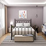 HOMERECOMMEND Metal Bed Frame Platform with Headboard and Footboard Box Spring Replacement Mattress Foundation Hevay Duty Steel Slats (Full,Copper Veins)