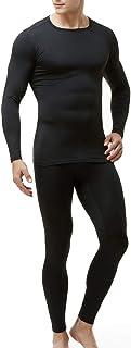 Men's Thermal Underwear Set, Microfiber Soft Fleece Lined Long Johns, Winter Warm Base Layer Top & Bottom