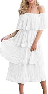 Women's Off The Shoulder Ruffles Summer Loose Casual Chiffon Long Party Beach Maxi Dress