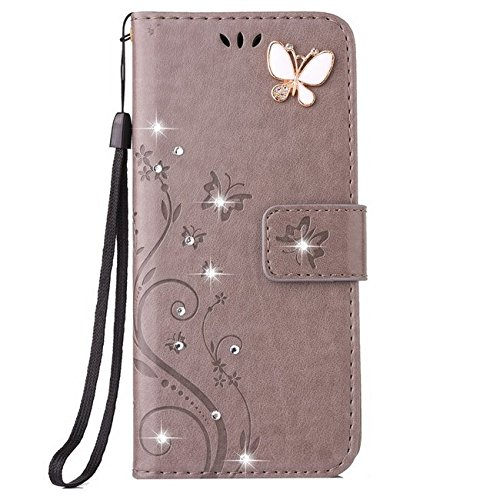 Auroralove iPhone 6 Plus/6s Plus Luxury Handmade Bling Rhinestone Soft Slim Flip Stand Wallet Case for iPhone 6 Plus/6s Plus 5.5 Flower Butterfly PU Leather Case for Girls Women-Gray