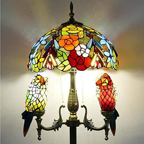 QCKDQ Lampadaire de Style Tiffany, Lampe de Table tridimensionnelle de Salon de création méditerranéenne, Abat-Jour en Verre teinté et Support de Lampe à Double Perroquet (40 * 165Cm)