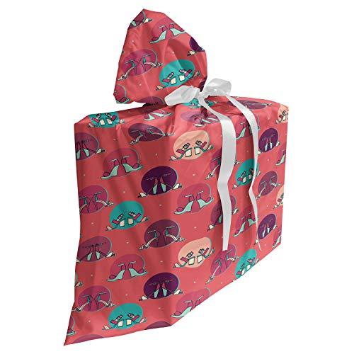 ABAKUHAUS Mode Cadeautas voor Baby Shower Feestje, Het ontwerp van de hoge hak sandalen, Herbruikbare Stoffen Tas met 3 Linten, 70 cm x 80 cm, Coral Multicolor