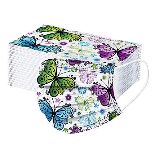 RUITOTP 50 Stücke Mundschutz Einweg Erwachsene Mund und Nasenschutz mit Schmetterling Blume, 3-Lagig Staubschutz Bandana Staubdicht Multifunktional Halstuch