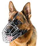 PetriStor Dog Chrome Metal Muzzles Wire Basket Adjustable Leather Straps German Shepherd Reinforced (№3) Snout Circumference is 13.7-14.5 in, Length is 4.9-5.3 in.