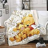 Amacigana Winnie The Pooh Decken, Cartoon Anime Fleece Fleecedecken for Erwachsene Kinder, 100prozent Mikrofaser, for Bettcouch & Sofa (Winnie,130cm×150cm)