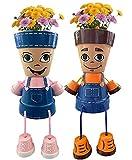 Country Kid Clay Pot People Planter,Unique Boy Girl Face Planter Head Flower Pot for Home Garden Art Plants Decor(2Pcs)