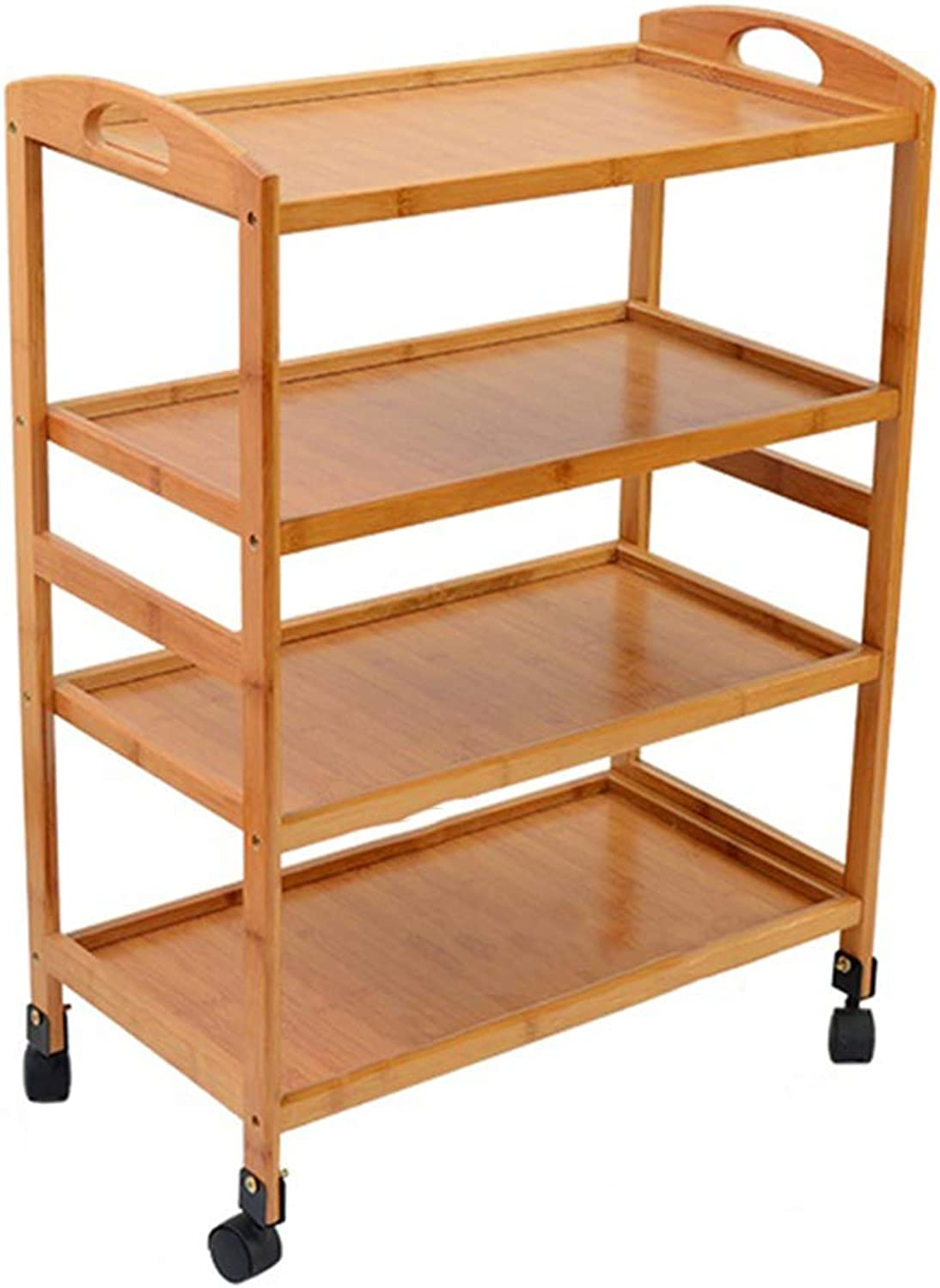 Serving Trolley Cart Restaurant Movable Kitchen Environmental Predection 4 Tier Bamboo Wood Universal Wheel, Carrying Capacity 60 Kg, 2 Sizes (color   Beige-B)