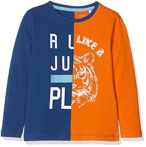 Name It Nmmnardo Ls Top T-Shirt À Manches Longues, Multicolore (Navy Peony), 92 Bébé garçon
