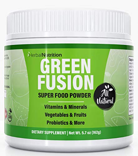 Green Fusion Superfood, Greens Powder, One Container, Organic Green Veggies and Fruits, Probiotics, Digestive Enzymes, Berry Taste, Gluten Free, Healthy Gut and Immune System Support, All Natural