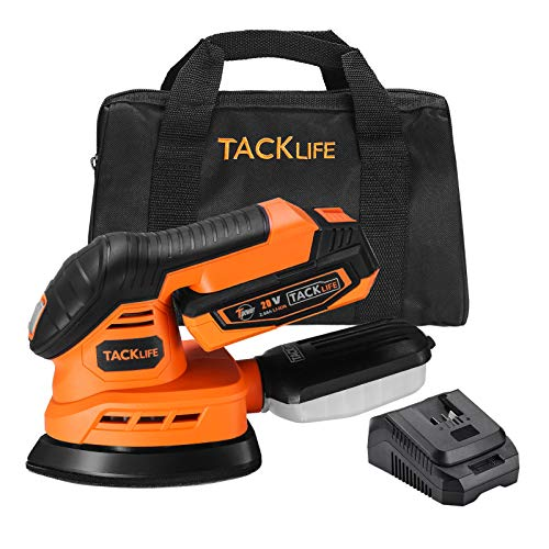 TACKLIFE 20 V Cordless Mouse Detail Sander with 20Ah Lithium Battery and 25 A Quick Charger 12000 OPM Electric Sander with Dust Collection System 12 Pcs Sandpapers Sander for Wood Working PMS01D