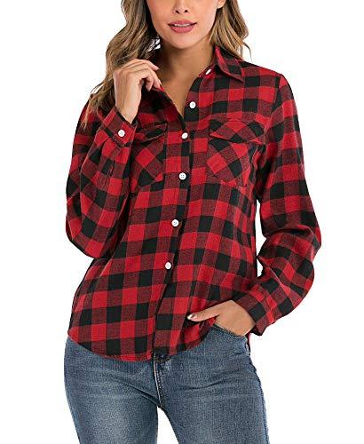 Enjoyoself Damen Karrierte Bluse Langarm Karo Flanell Hemden Baumwolle Button-down Hemdbluse für Alltag und Oktoberfest,Rot-Schwarz,S