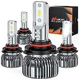 Nilight E1 9005 9006 LED Headlight Bulb Kit, 350% Brighter, 100W 20,000 Lumens LED High Beam Low Beam Bulbs Combo, 6000K Cool White, Mini Size, 4-Pack