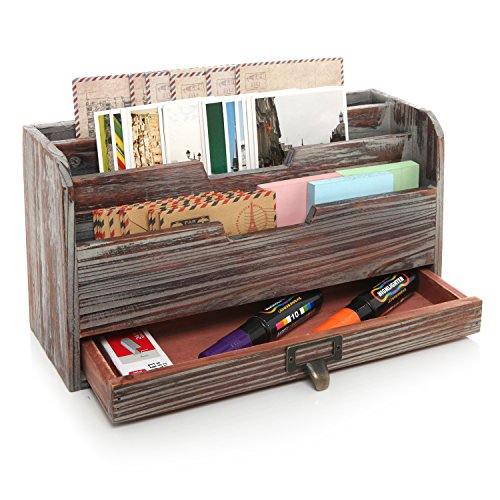 3 Tier Country Rustic Torched Wood Office Desk File Organizer Mail Sorter Tray Holder w/Storage Drawer