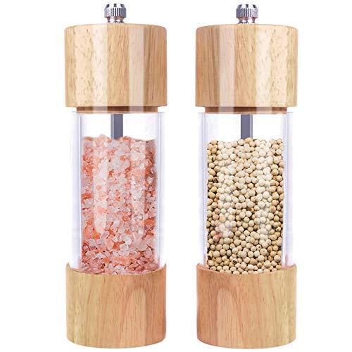 Bayda - Juego de 2 molinillos de sal y pimienta (madera, molinillo de sal y pimienta manual, núcleo de ceramica regulable, paquete de 2)