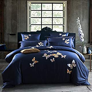 WTGJSFT 100% Cotton Oriental Embroidery Blue Color Hotel Bedding Sets King Queen Size Bed Set Duvet Cover Set Sheet,UK,Double