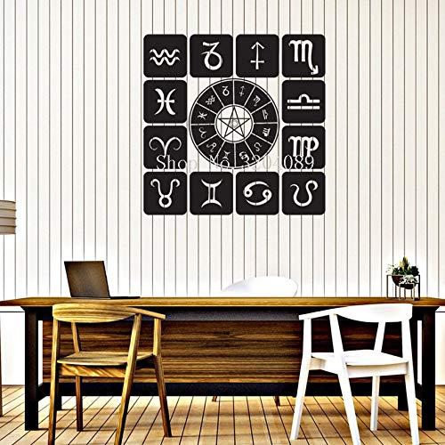 zqyjhkou Vinyl Aufkleber Sternzeichen Set Icons Astrologische Studio Art Design Wandaufkleber Wohnkultur Wohnzimmer Für Gorls Room Goft 42x42 cm