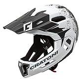 Cratoni C-Maniac 2.0 MX - Casco de ciclismo (doble cara, con mentonera extraíble, talla S/M, 52-56 cm), color blanco y negro