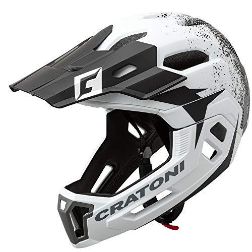 Cratoni, C-Maniac 2.0MX, casco da bicicletta MTB, colore: nero nime opaco, bianco-nero, S M (52-56 cm)