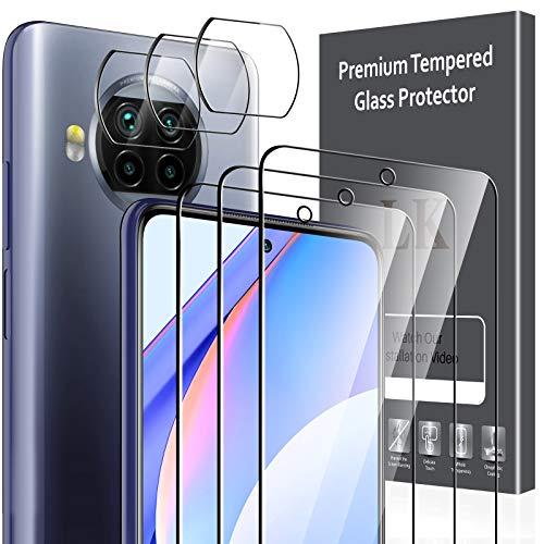 LK Compatible con Xiaomi mi 10t Lite 5G Protector de Pantalla,3 Pack Cristal Templado y 3 Pack Protector de Lente de cámara, Doble protección